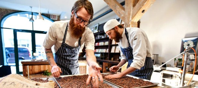 Hipsters making chocolate. #hashtag